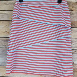 Small J McLaughlin Striped Midi Skirt Coral Blue